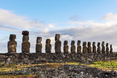 moai: Back view of the Ahu Tongariki moai site on the coast of Easter Island, Chile