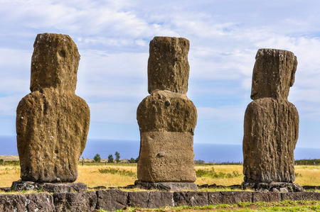 towards: Ahu Akivi site, the only moai statues facing towards the sea in Easter Island, Chile Stock Photo