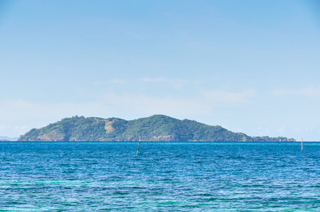 castaway: View of Castaway Island, the location of the Castaway movie with Tom Hanks in Fiji Stock Photo