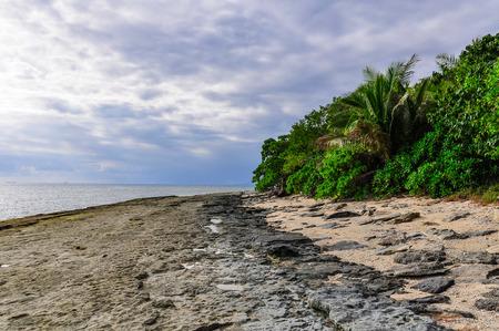 bounty: El dar un paseo en la playa de Bounty Island en Fiji