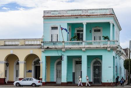 colonial building: Colonial building in Jose Marti Park, the UNESCO World Heritage main square of Cienfuegos, Cuba Editorial