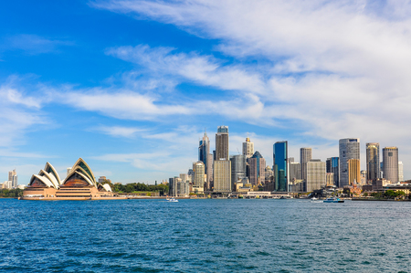 View of the Opera House and the Central Business District from Kirribilli in Sydney, Australia Stock Photo