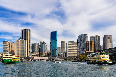 wales: View of the Central Business District from the ferry heading to Manly in Sydney, Australia Stock Photo