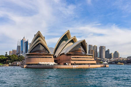 View of the Opera House and CBD from the ferry heading to Manly in Sydney, Australia