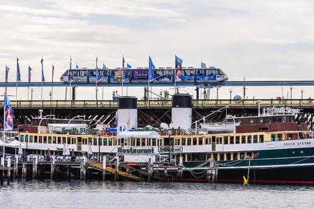 The futuristic sky train in Darling Harbour in Sydney, Australia Editorial