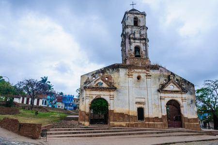 Santa Ana Church on the cobblestone streets in the UNESCO World Heritage old town of Trinidad, Cuba Stock Photo