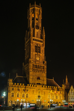 Illuminated Belfry Tower in the UNESCO World Heritage Old Town of Bruges, Belgium