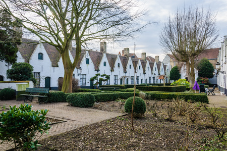 almshouse: Almshouses in the UNESCO World Heritage Old Town of Bruges, Belgium Stock Photo