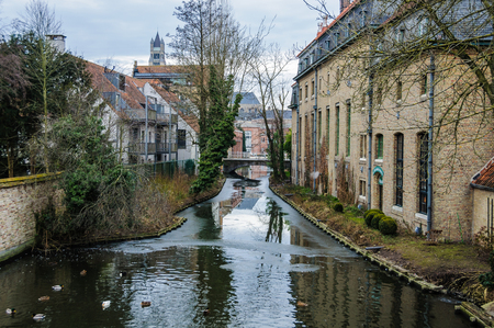 Winter scenery in the UNESCO World Heritage Old Town of Bruges, Belgium Stock Photo
