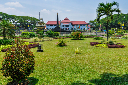 Mansion and a park in Malang on Java Island, Indonesia