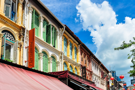 relic: Colorful Chinatown buildings in the city-state of Singapore Editorial
