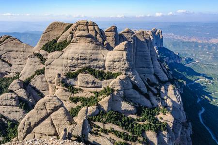 View of the rocks in Montserrat Mountain, Catalonia, Spain Stock Photo