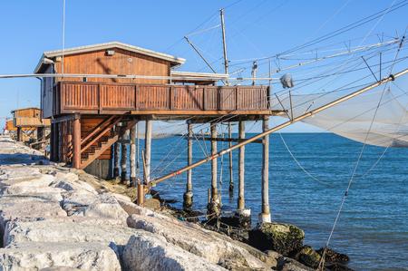 Traditional fishing station in Sottomarina dam near Venice, Italy