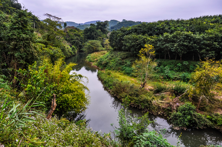 Riverside landscape in the village Luang Nam Tha, Northern Laos Stock Photo