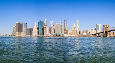 Lower Manhattan Skyline as seen from the Brooklyn Bridge Park, NYC, USA