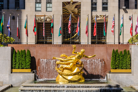 The Golden Statue of Prometheus near the, Rockefeller Center in New York, USA
