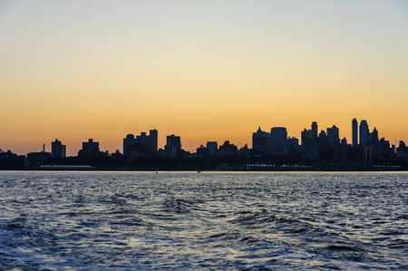 Colorful sky over Brooklyn before sunrise in New York, USA Stock Photo