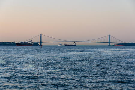 The Verrazano-Narrows at dawn in Staten Island, New York, USA