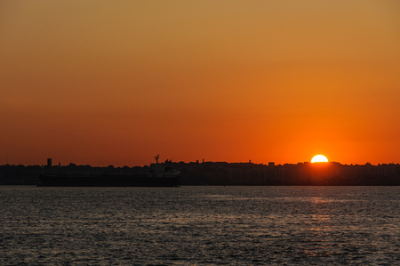 Sunrise over Brooklyn from the Staten Island Ferry, New York, USA Stock Photo