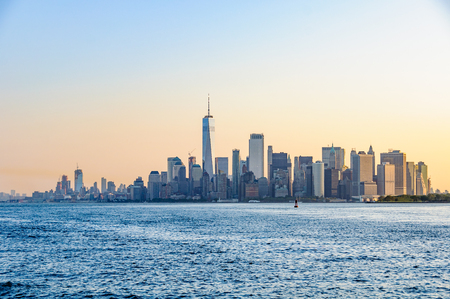 The first light over  Lower Manhattan seen from the Staten Island Ferry, NYC, USA Stock Photo