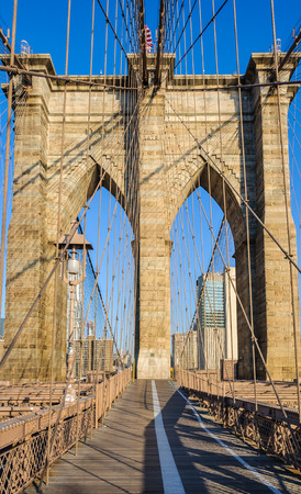 Nobody on the Brooklyn Bridge just after sunrise in New York, USA