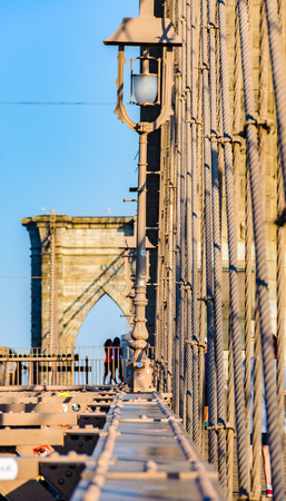 Brooklyn Bridge from another perspective, just after sunrise in New York, USA