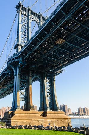 View of Manhattan Bridge from below in Brooklyn, New York City, USA
