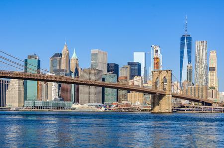 Lower Manhattan Skyline as seen from Dumbo in Brooklyn, New York City, USA
