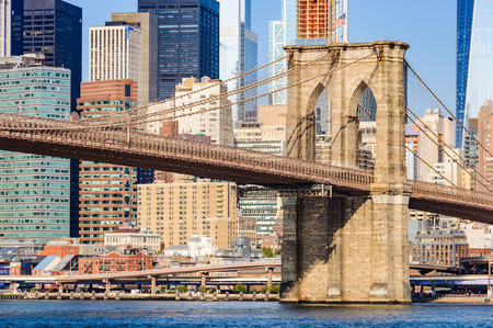 Brooklyn Bridge as seen from Dumbo in Brooklyn, New York City, USA