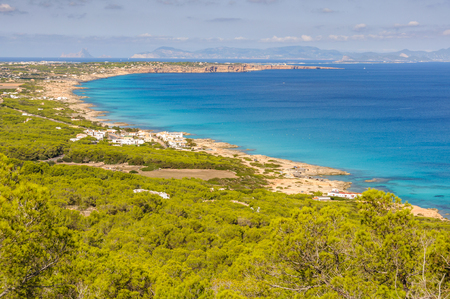 Aerial view of the coastline in Formentera Island, Spain