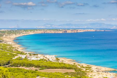 Aerial view of the coastline in Formentera Island, Spain