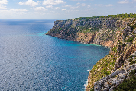 Breathtaking view from the cliffs near Mola Lighthouse in Formenera Island, Spain