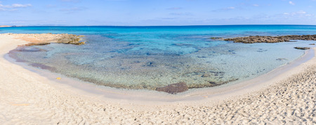 The white sand Ses Platgetes Beach in Formentera Island, Spain Stock Photo