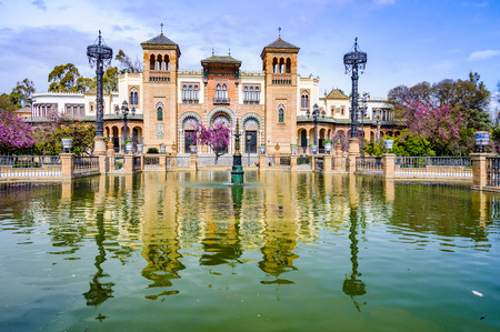 Reflection in Plaza de America in the Andalusian capital, Sevilla in Spain