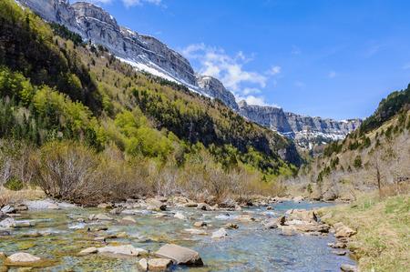 River flowing in Ordesa Valley in the Aragonese Pyrenees, Spain