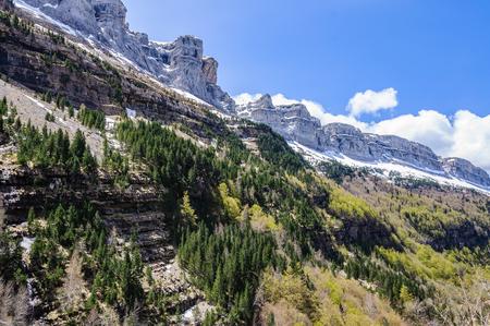 Mountain chain in Ordesa Valley in the Aragonese Pyrenees, Spain
