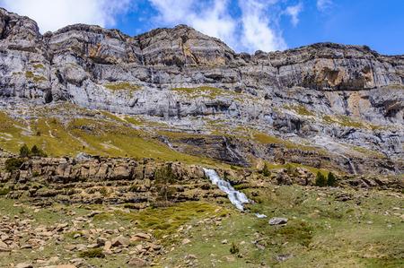 Waterfalls in Ordesa Valley in the Aragonese Pyrenees, Spain