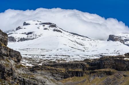 Snowy peak in Ordesa Valley in the Aragonese Pyrenees, Spain Stock Photo