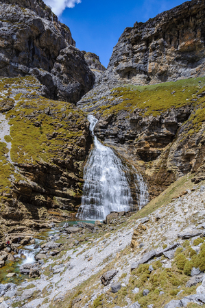 Cola de Caballo Waterfall in Ordesa Valley in the Aragonese Pyrenees, Spain