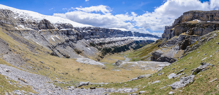 Panoramic view in Ordesa Valley in the Aragonese Pyrenees, Spain Stock Photo