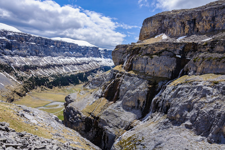 View from the top in Ordesa Valley in the Aragonese Pyrenees, Spain 写真素材