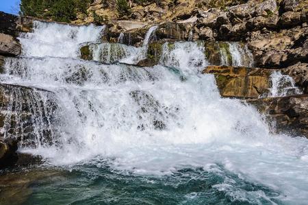 Waterfall in Spring in Ordesa Valley in the Aragonese Pyrenees, Spain