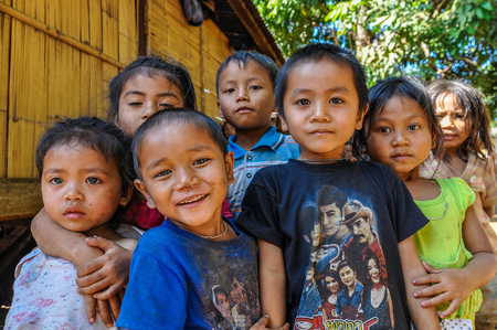 Group of kids in the Bolaven Plateau, Southern Laos