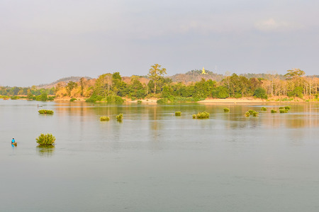 River view in Dong Kong, 4000 Islands on the Mekong, Laos Stock Photo