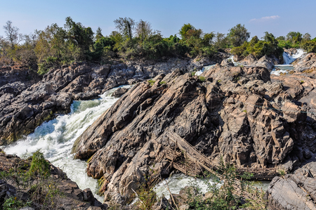 Pha Pheng Falls in Dong Kone, 4000 Islands on the Mekong, Laos Stock Photo