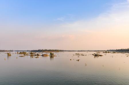 Mekong River at sunset in Dong Kone, 4000 Islands, Laos Stock Photo