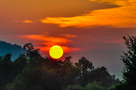 Sunset in Dong Kone, 4000 Islands on the Mekong, Laos Stock Photo