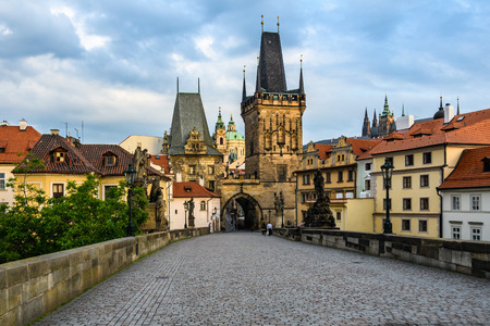 View of the New Town Bridge Tower in the Charles Bridge at dawn in Prague, Czech Republic