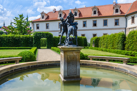 Statues and French garden in the beautiful Wallenstein Garden in  Prague, Czech Republic Stock Photo