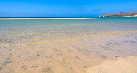 Sand strip and lagoon in Sotavento Beach in Fuerteventura, Canary Islands, Spain